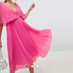 ASOS pink pleated midi dress